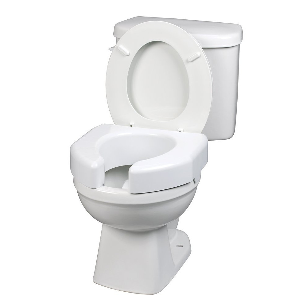 "Ableware Raised Toilet Seat - White - 3"" - 350 lbs"