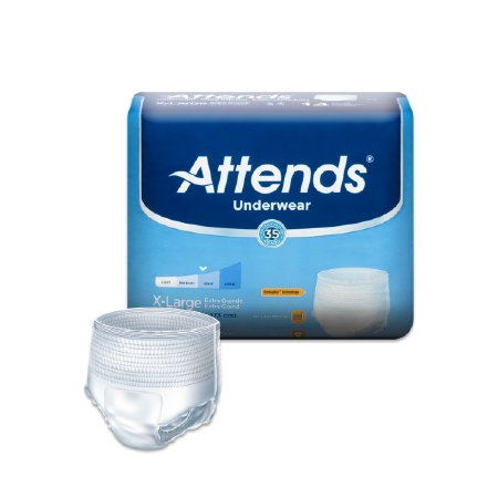 Attends Adult Absorbent Underwear Attends Pull On X-Large Disposable Moderate Absorbency