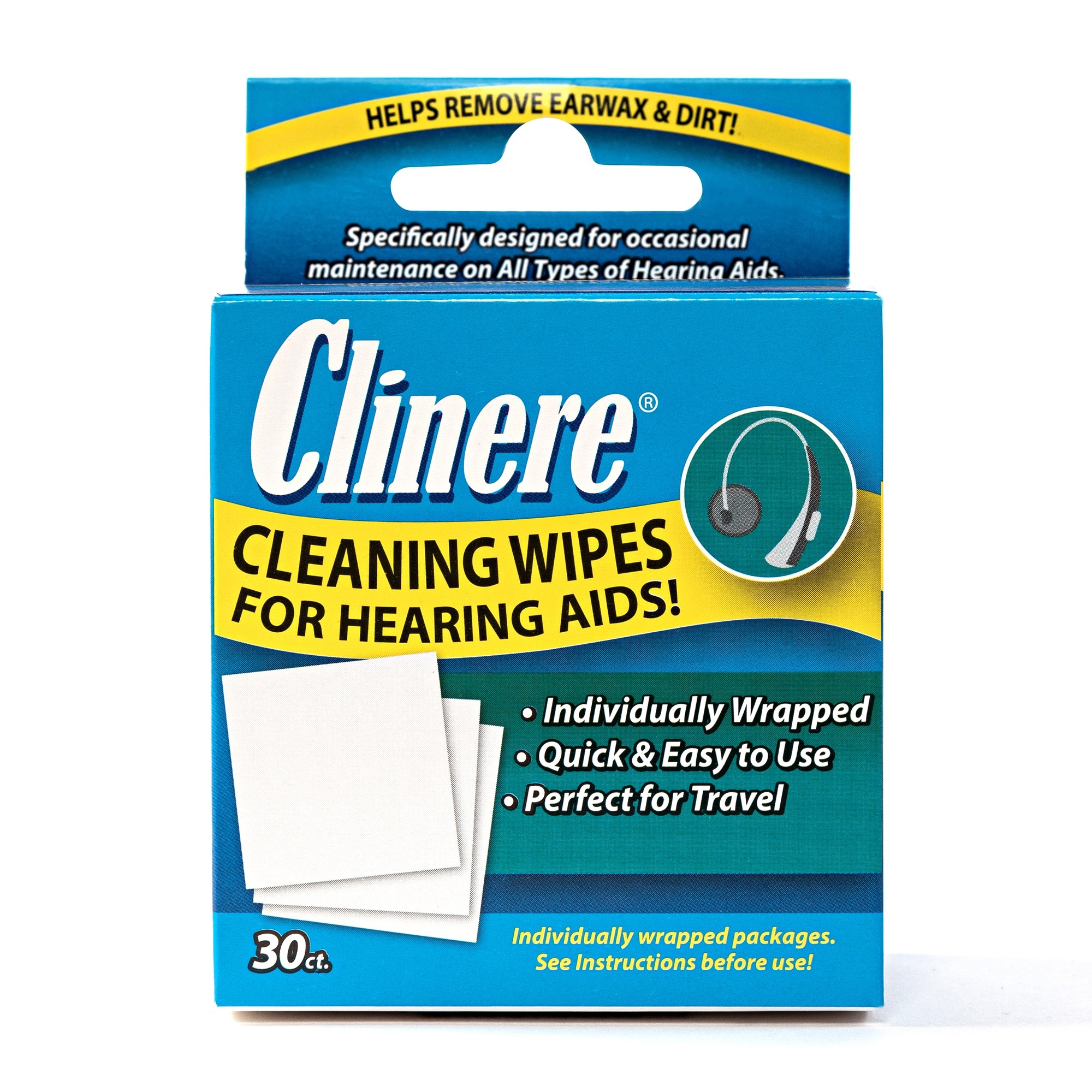 Clinere Hearing Aid Cleaning Wipes - 30 Count