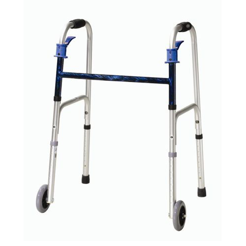 Drive Deluxe Trigger Release Folding Adult Walker - 5 Wheels