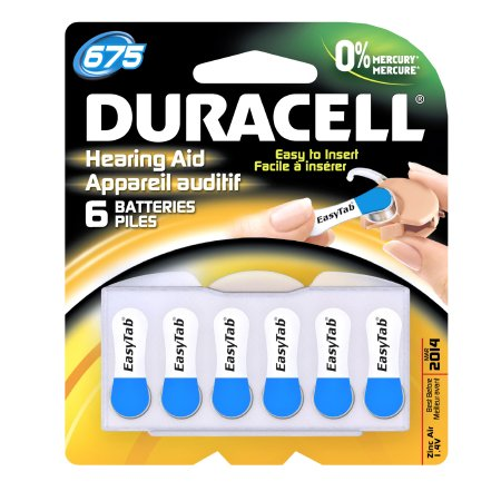 Duracell 675 Cell Hearing Aid Batteries - 6 Pack