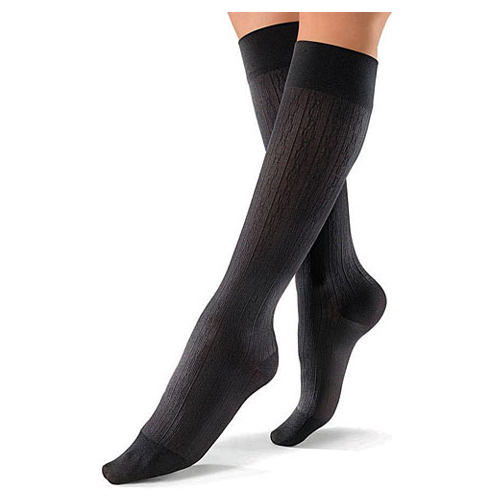 Jobst Women's Brocade Pattern Knee High 8-15 mmHg Compression Socks - Black