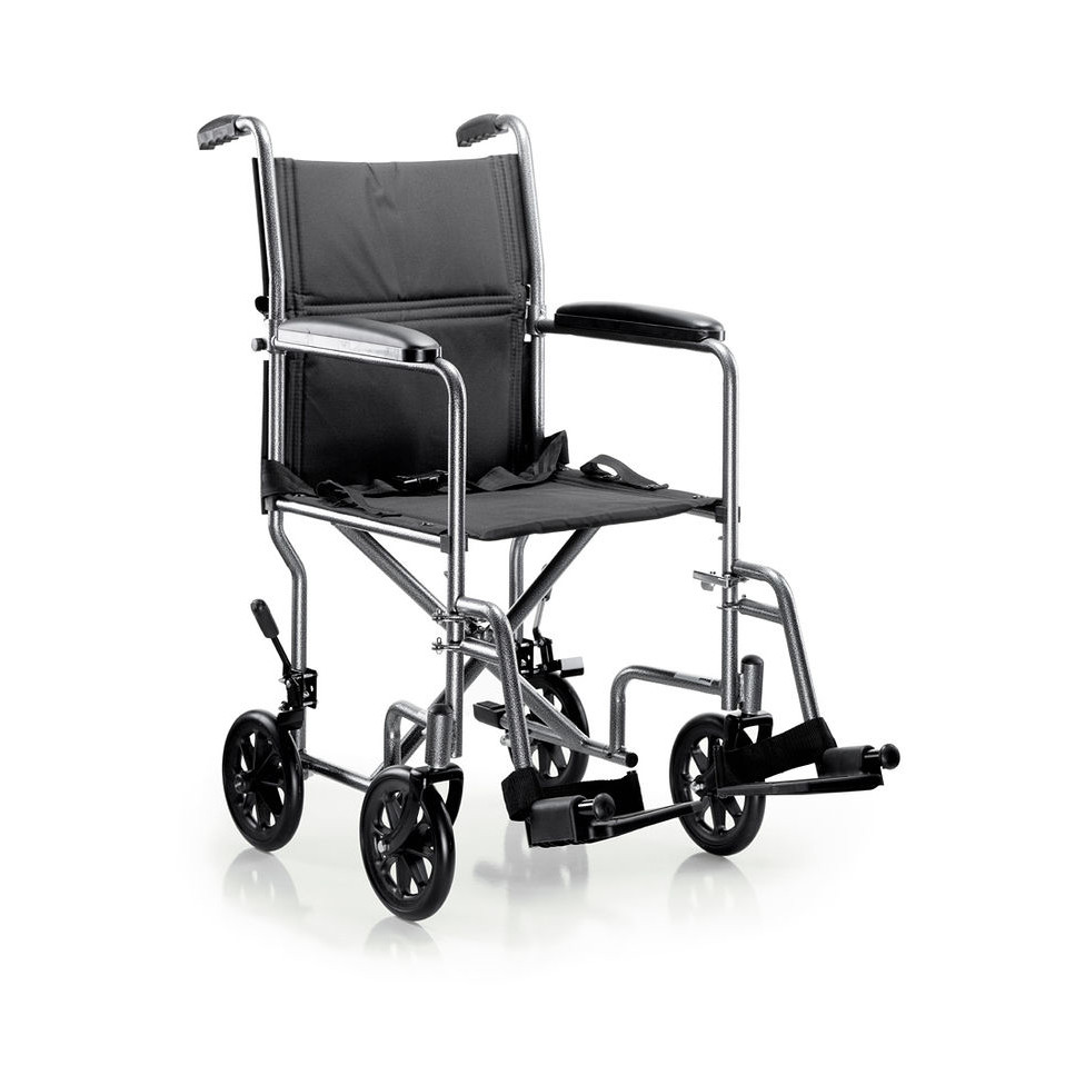 Lightweight Transport Chair McKesson Steel Frame with Silver Vein Finish 250 lbs. Weight Capacity Fixed Height / Padded Arm Black
