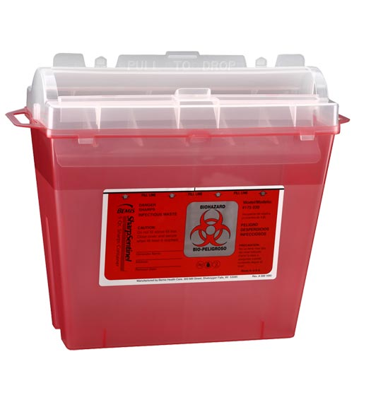 Medline Patient/Exam Sharps Container 5 qt., Translucent Red, Latex