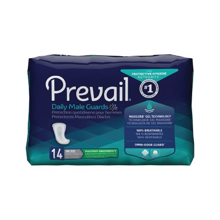 Prevail Bladder Control Pad Daily Male Guards 12-1/2 Inch Length Moderate Absorbency Polymer One Size Fits Most Male Disposable