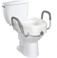 "Image of Drive Raised Toilet Seat with Arms - Elongated 4-1/2"" 300 lbs"
